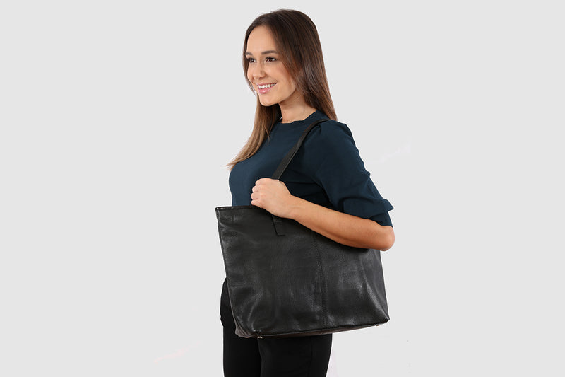 Amalie Pebble Black Tote Bag / Laptop Bag