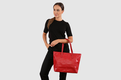 Amalie Red Tote Bag / Laptop Bag