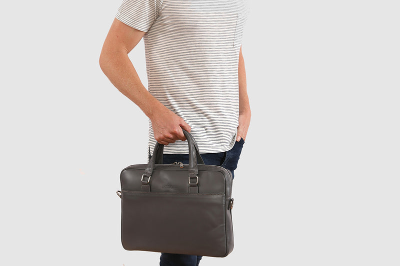 "Glasgow Grey - Slim Leather Briefcase 13"" laptops"
