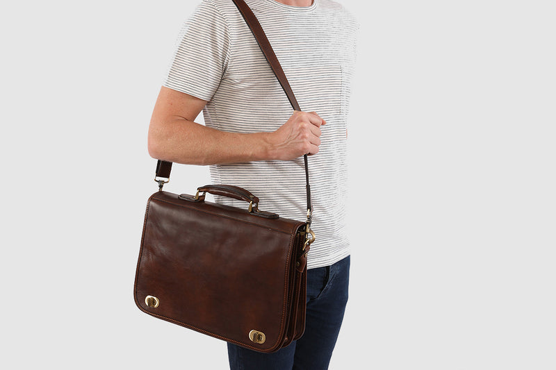 King Numa Chocolate Leather Briefcase