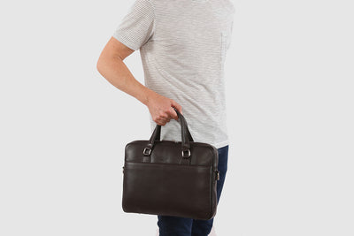 "Glasgow Chocolate - Slim Leather Briefcase 13"" laptops"
