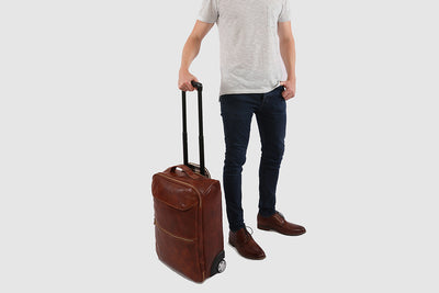 Kino Brown - Wheeled Leather Trolley Case
