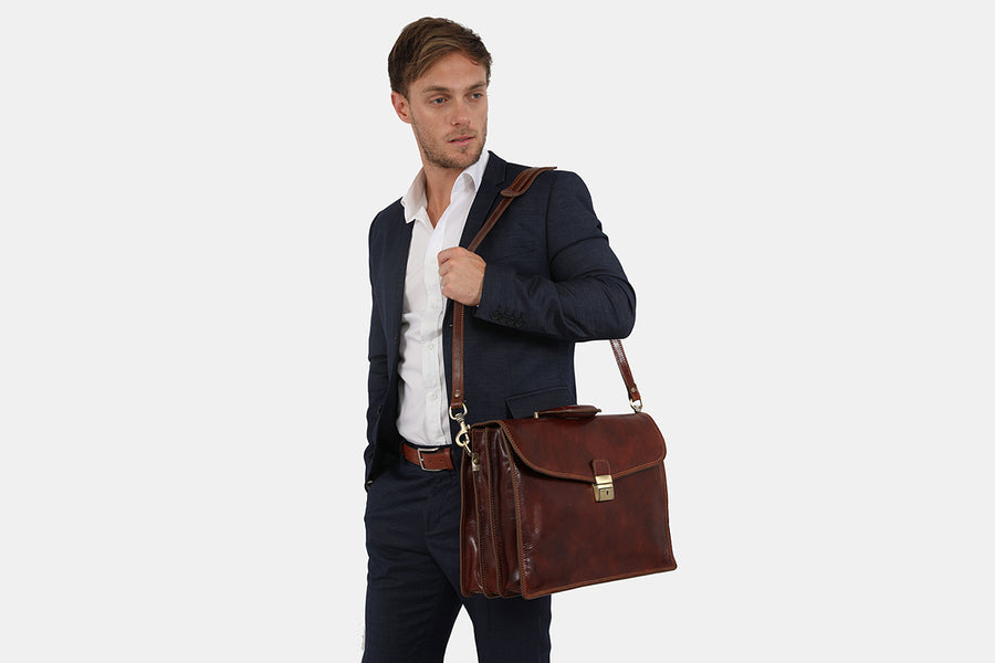 Preston Brown Three Compartment Leather Briefcase