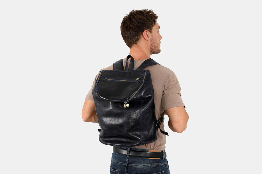 Stockholm Blue - Leather Backpack