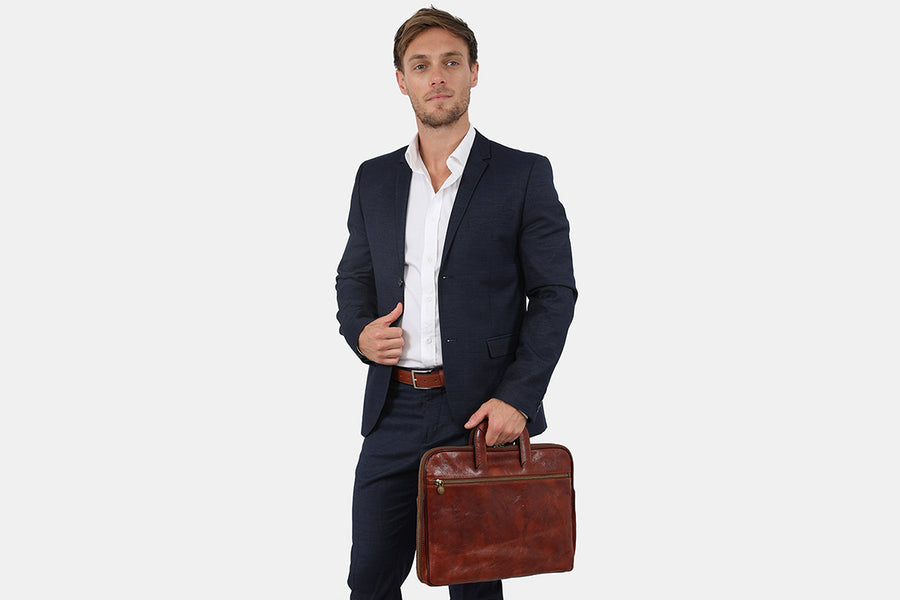 Valencia Brown - Leather Slim Briefcase