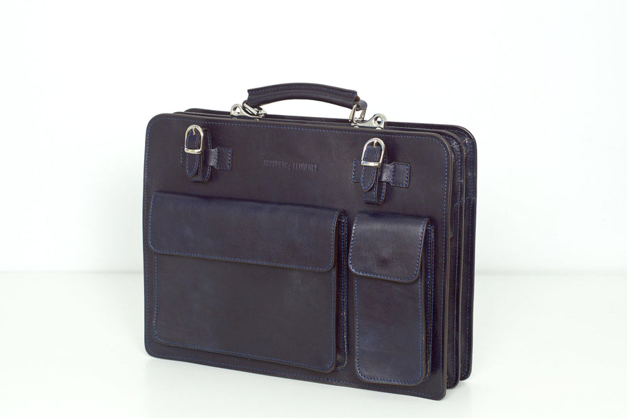 Munich Blue - Double Compartment Leather Briefcase
