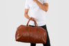 Albertis Tan Leather Duffle Bag