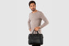 "Glasgow Black - Slim Leather Briefcase 13"" laptops"