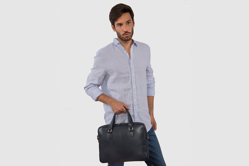 Glasgow Blue - Slim Leather Briefcase