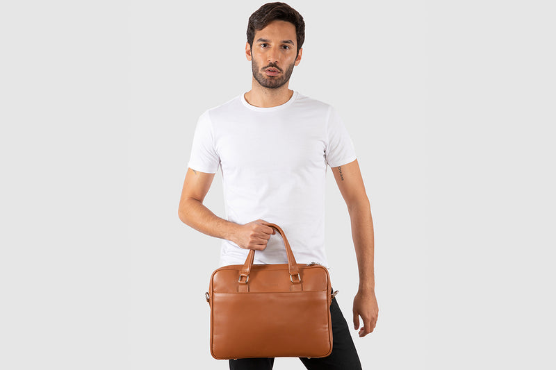 Glasgow Tan - Leather Slim Briefcase