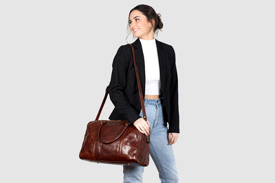 Horizon Brown - Small leather duffle bag