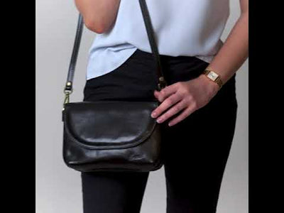 Charlotte Black Leather Clutch Bag
