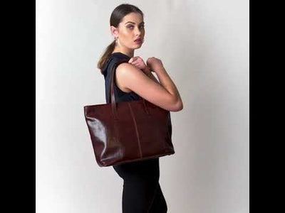 Beatrice Brown Leather Tote / Work Bag