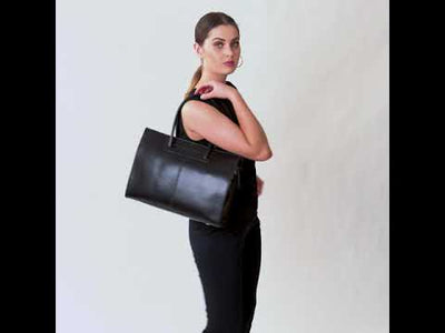 Florence Black Leather Woman Briefcase