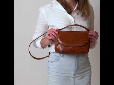 Charlotte Tan Leather Clutch Bag