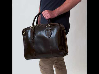 Madrid Chocolate - Leather Briefcase