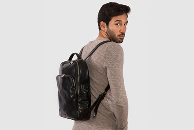 Kingston Black - Sleek Leather Backpack 13""
