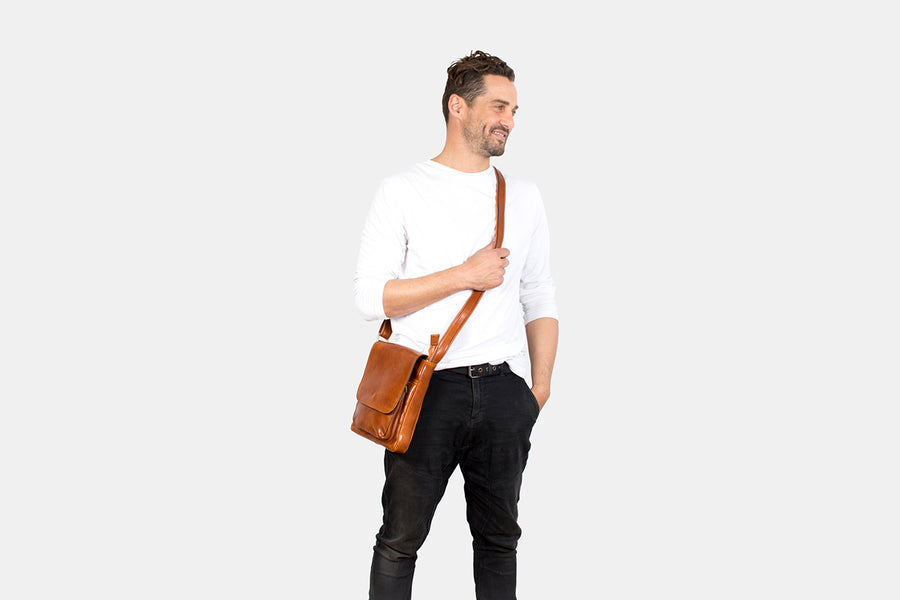 Augustus Tan -  Leather Satchel bag