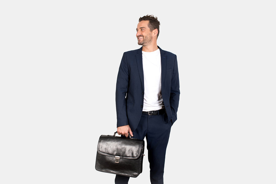 Berlin Black - Leather Laptop Briefcase
