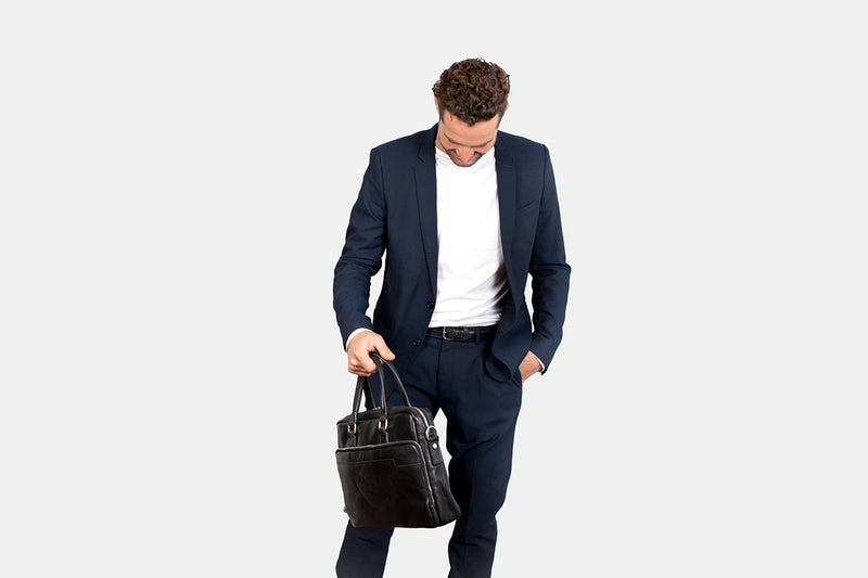London Black - Slim Laptop Briefcase