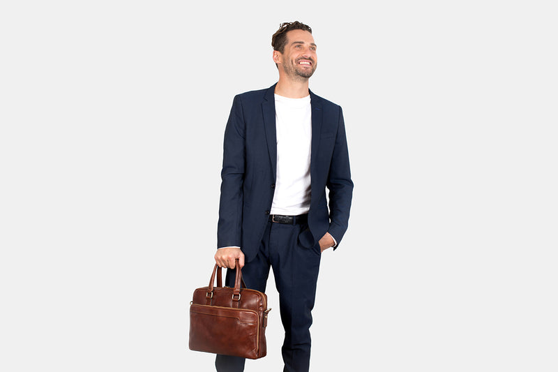 London Brown - Slim Laptop Briefcase