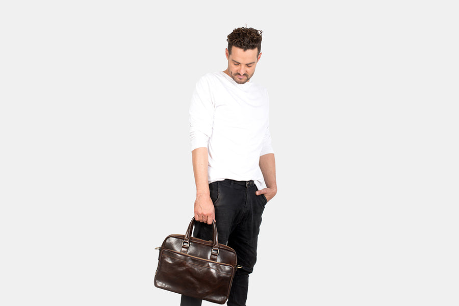 London Chocolate - Slim Laptop Briefcase