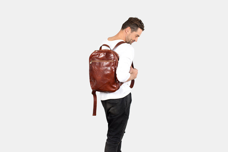 Prague Brown - Double Compartment Laptop Backpack