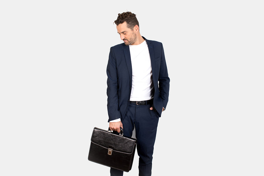 Vienna Black - Slim Leather Briefcase