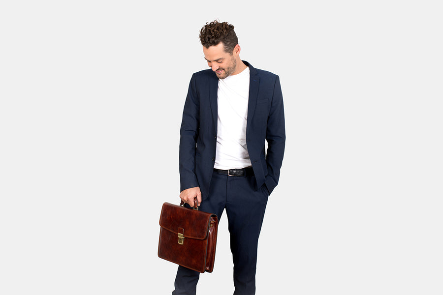 Vienna Brown - Slim Leather Briefcase