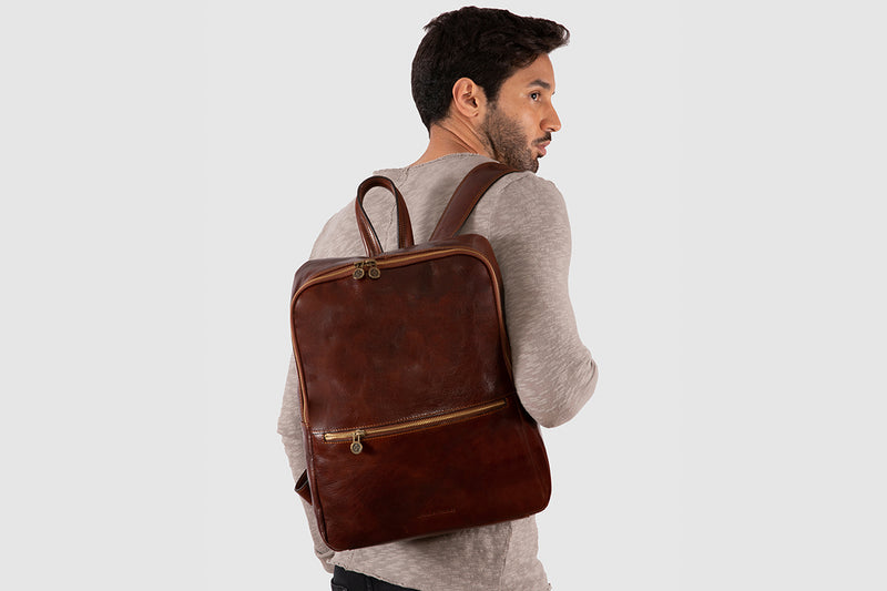 "Lima Brown - Leather Backpack 15"" laptops"