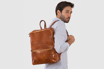"Lima Tan - Leather Backpack 15""laptops"