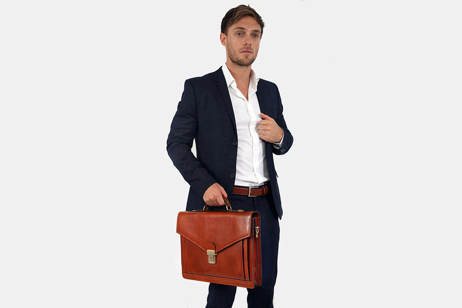 Barnet Tan - Compact Luxury Briefcase