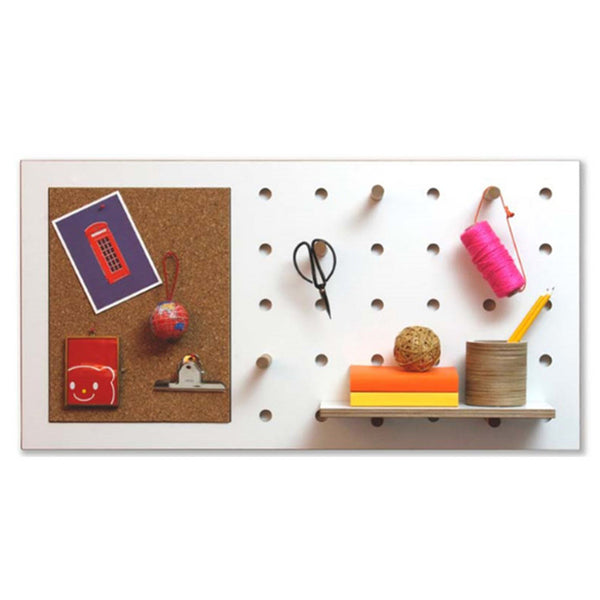 Peg-It-All Wall Mounted Storage Panel (with Cork Pin Board)