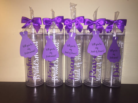 Bridesmaid Gift Personalized Wedding Skinny Tumblers, Bride, Bridesmaid Tumbler, Bridal Party Tumbler/#wedding/#bridesmaids/#bride