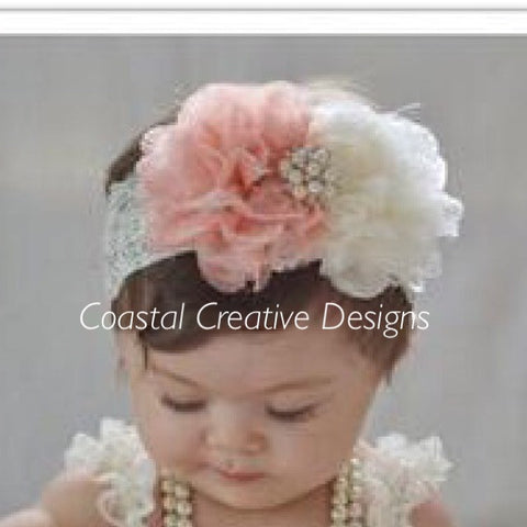 Baby Headband/peach & ivory lace and flowers