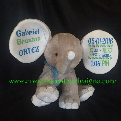 Cubbie Dumble Elphants, Personalized Birth Announcements, Monogrammed Elephant, Keepsake