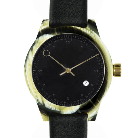 SQ03 Minuteman,Two Hand, Horn (Black embossed dial)