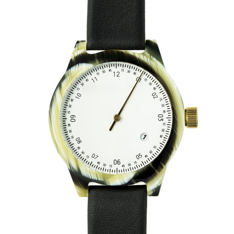 SQ03 Minuteman, One Hand, Horn (White/ Black Leather)