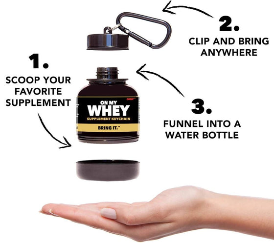 onmywhey protein container keychain | restocked