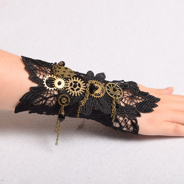 One Piece Handcrafted Black Lace Steampunk Cuff