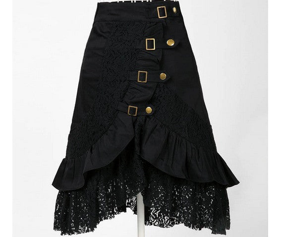Steampunk Black Lace Buckle Skirt