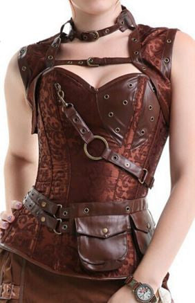 Brown Steampunk Overbust Corset with Jacket and Belt