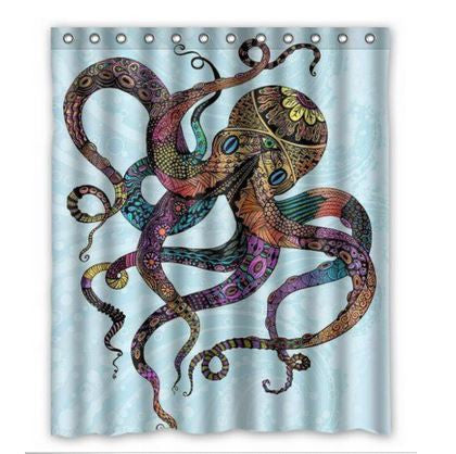 Psychedelic Steampunk Octopus Shower Curtian