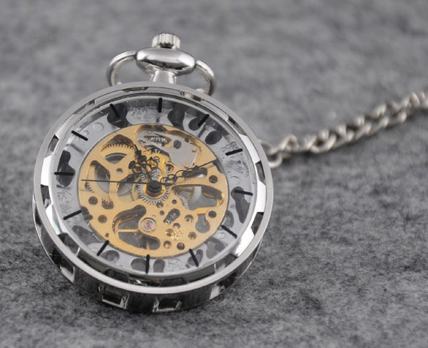 Hands of Time Silver Pocket Watch