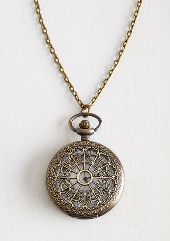 Steampunk in Wonderland Vintage Pocket Watch Necklace