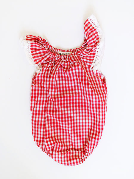 Red Gingham Baby Romper