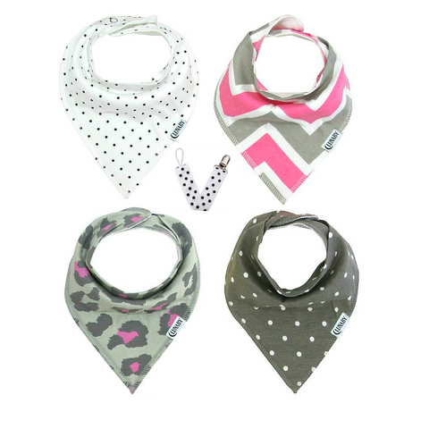 Little Lady Set: Four Baby Bandana Drool Bibs + Free Pacifier Clip