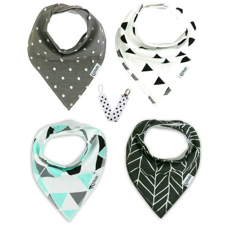 Prism Set: Four Baby Bandana Drool Bibs + Free Pacifier Clip