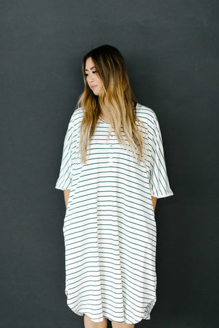 SOLD OUT -- WHITE + BLACK STRIPE - The Modern Mother's Kaftan