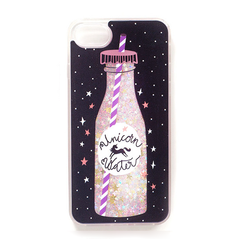 Black Unicorn Glitter Water iPhone Case - Her Teen Dream